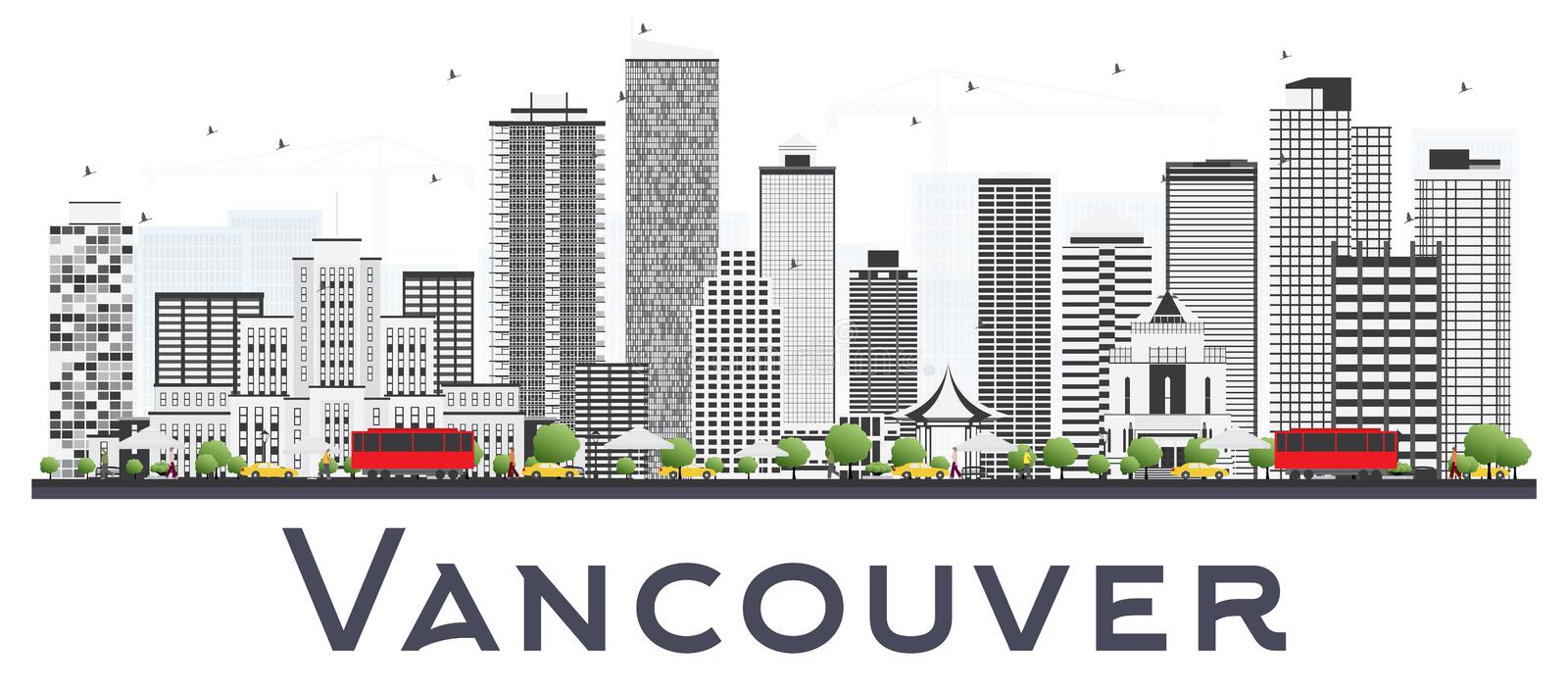 Vancouver Canada City Skyline with Gray Buildings Isolated on White Background. Vector Illustration. Business Travel and Tourism Concept with Modern Buildings stock illustration
