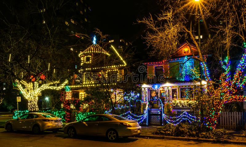 VANCOUVER, CANADA - December 25, 2018: luxury decorated homes and streets with garland lights in canadian city street stock images