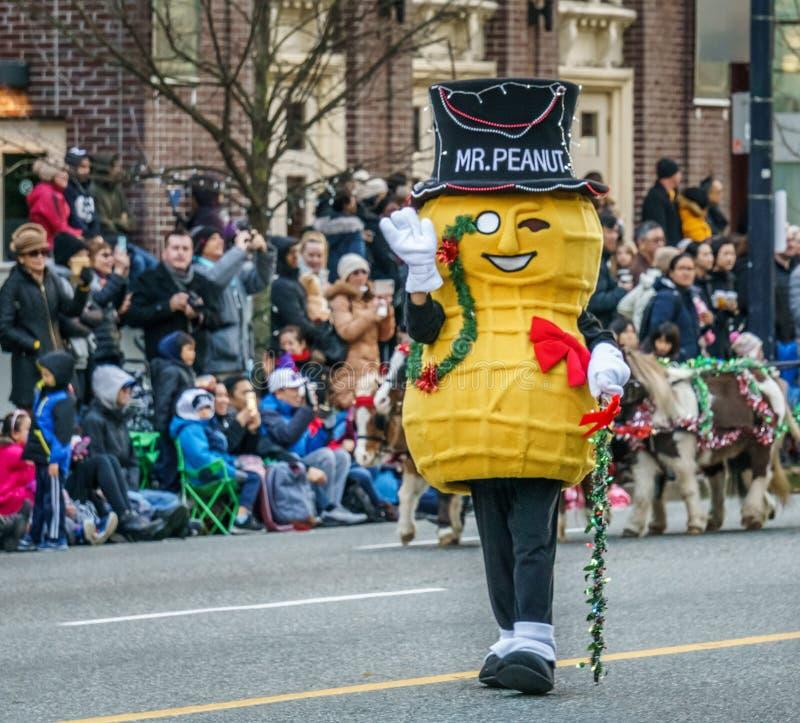 VANCOUVER, CANADA - 2 DICEMBRE 2018: arachide di signor ad annuale Santa Claus Parade a Vancouver, Canada fotografia stock