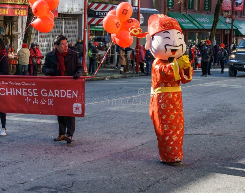 VANCOUVER, CANADA - Februari 18, 2018: God van Rijkdom in de Chinatown van Vancouver tijdens de Chinese Nieuwjaarviering stock foto