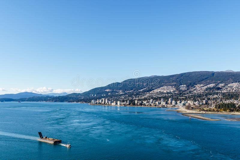 VANCOUVER, CANADA - February 25, 2019: Vancouver skyline panorama of West Vancouver stock photography
