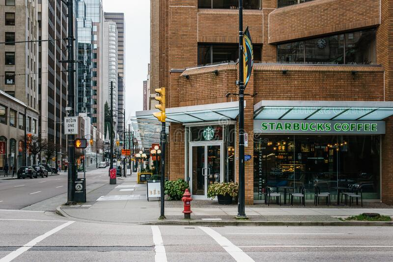 VANCOUVER, CANADA - FEBRUARY 2, 2020: street cross in downtown sunday morning royalty free stock photography