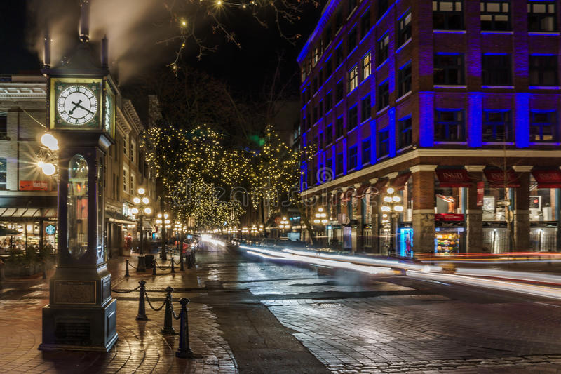 Vancouver, Canada - January 14, 2017. Gastown, Water Street. Vancouver, Canada - January 14, 2017 Gastown Water Street at night stock image