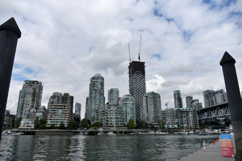 Citysacpe view from granville island. VANCOUVER, CANADA - June 14 2018 : Citysacpe view from granville island stock photography