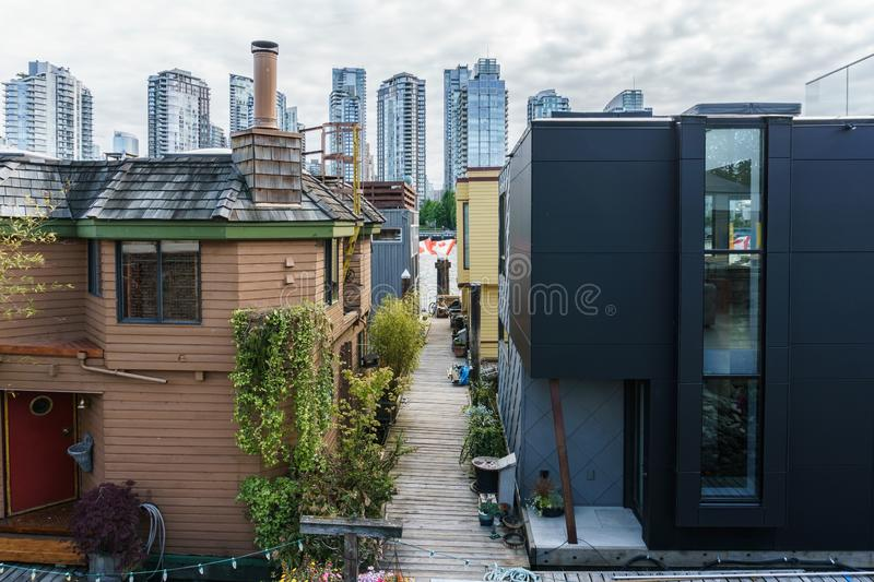 VANCOUVER, CANADA - June 6, 2018: detail view on Granville Island urban life Sea Village Houseboats.  royalty free stock images