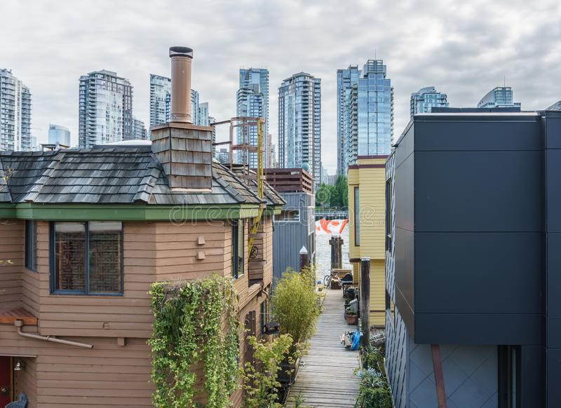 VANCOUVER, CANADA - June 6, 2018: detail view on Granville Island urban life Sea Village Houseboats.  stock photos