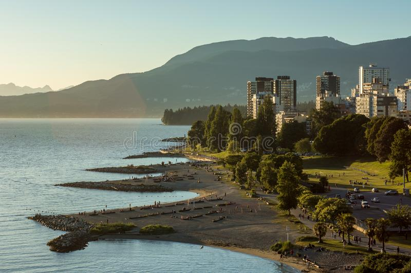 Vancouver, Canada - June 23, 2017: The English bay and Vancouver. Downtown as seen from the Burrard bridge on a sunny day stock photography