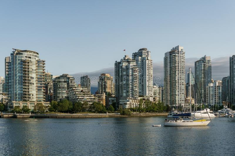 VANCOUVER, CANADA - June 6, 2018: View on Downtown Vancouver center of the city from False Creek.  royalty free stock photos