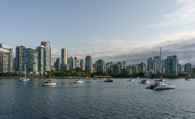 VANCOUVER, CANADA - June 6, 2018: View on Downtown Vancouver center of the city from False Creek.  stock images