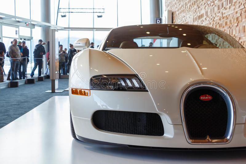 Vancouver, Canada - March 2018 : Bugatti Veyron Roadster, taken at 2018 Vancouver International Auto Show. Vancouver, Canada - March 2018 Bugatti Veyron Roadster royalty free stock photos