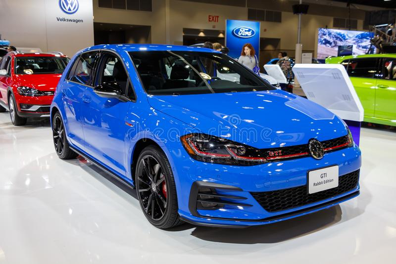 Vancouver, Canada - March 2019 : VW Golf GTI, taken at 2019 Vancouver Auto Show. Vancouver, Canada - March 2019  VW Golf GTI royalty free stock photography