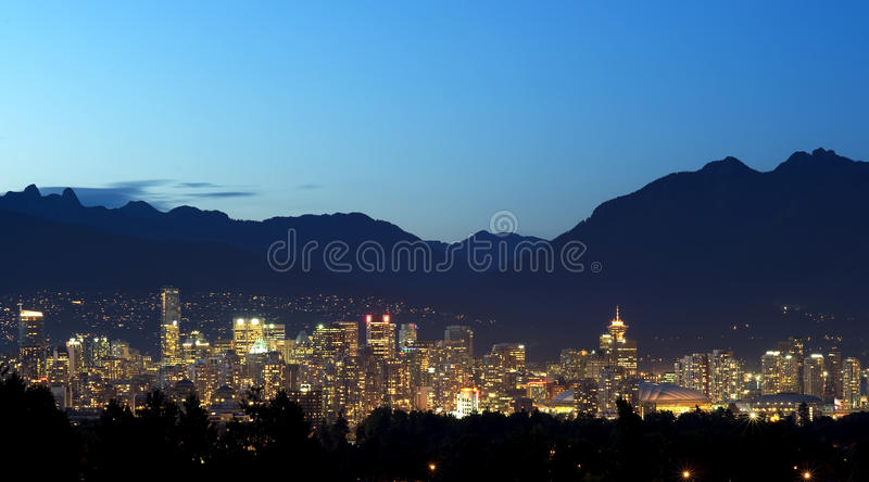 Vancouver Canada Night Scene royalty free stock photography
