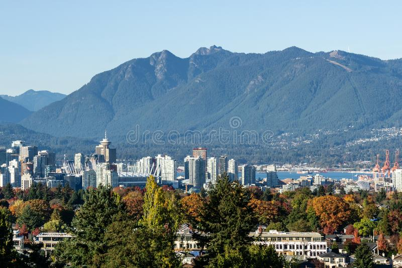 VANCOUVER, CANADA - October 14, 2018: Beautiful view of Vancouver skyline with mountains of British Columbia stock photo