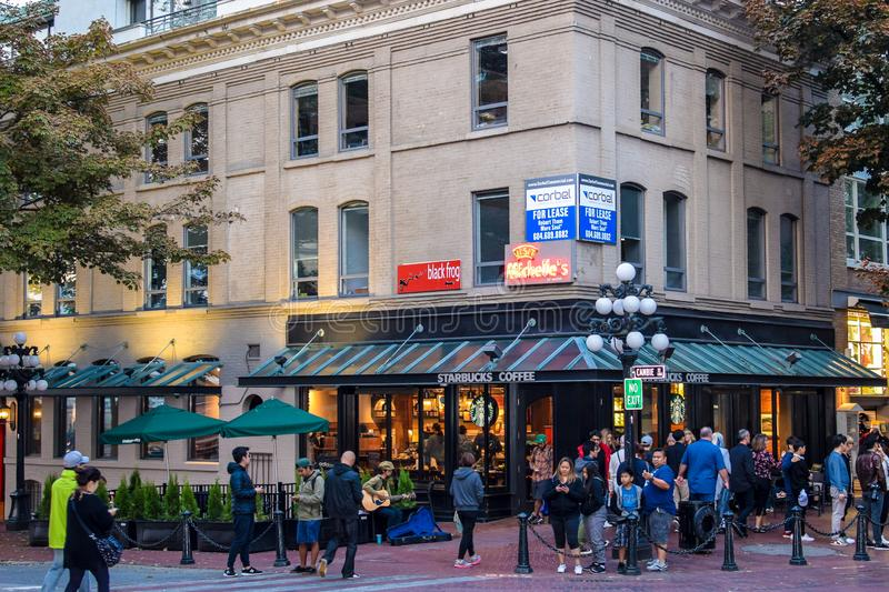 Night time in GasTown with tourists and locals out on the streets stock image