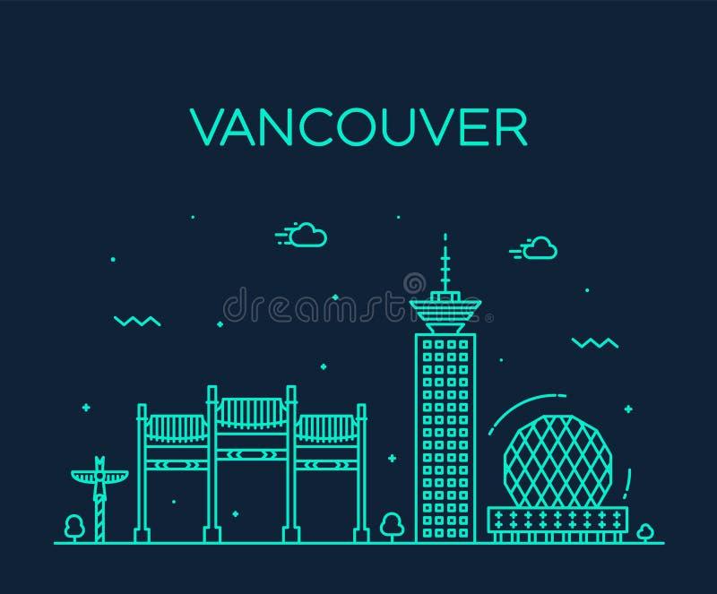 Vancouver city skyline Canada vector linear style stock illustration