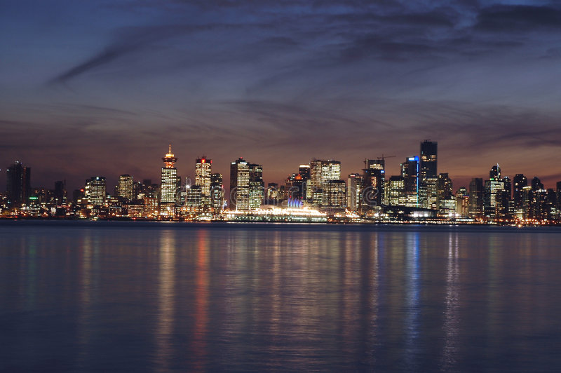 Download Vancouver City Skyline At Dusk Stock Image - Image: 8609337