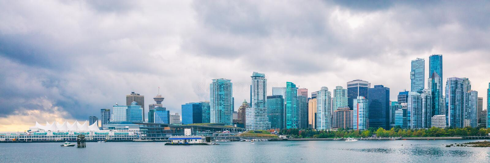 Vancouver city skyline panoramic banner landscape in Autumn - British Columbia, Canada. Urban background stock photography