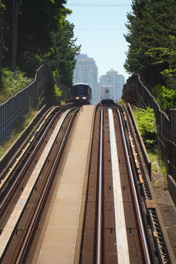 Vancouver Commuter Trains Passing Stock Photos