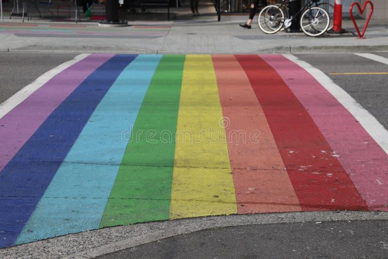Vancouver Davie Village Rainbow Crosswalk photo stock