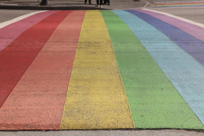 Vancouver Davie Village Rainbow Painted Street photo libre de droits