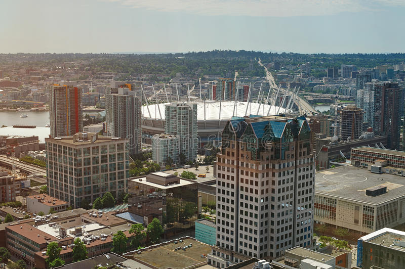 Vancouver downtown cityscape. Aerial view on sunny day. Modern buildings in Vancouver Canada stock photo