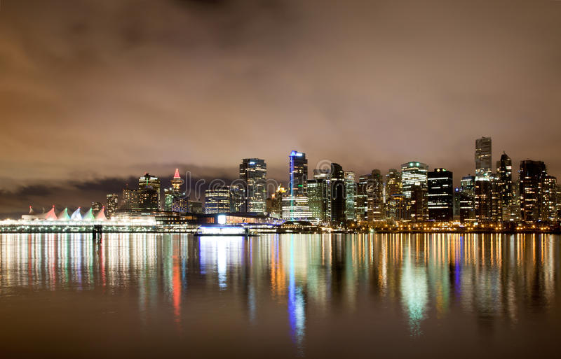 Vancouver Downtown Skyline At Night, Canada BC Royalty Free Stock Photo