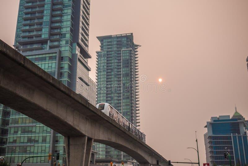 Vancouver durante A.C. los incendios fuera de control foto de archivo