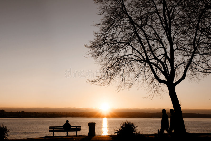 Vancouver Dusk. People enjoying a sunset at Stanley Park, Vancouver stock photos