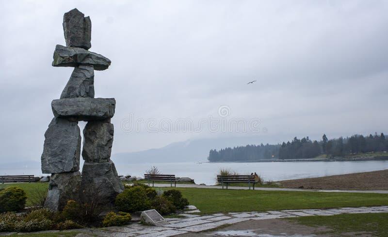 Vancouver English Bay beach, Inuksuk BC Canada. Vancouver English Bay beach, Inuksuk stock images