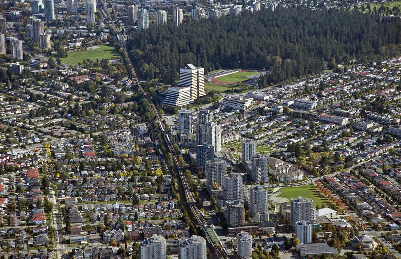 Vancouver et Burnaby, aériens image stock