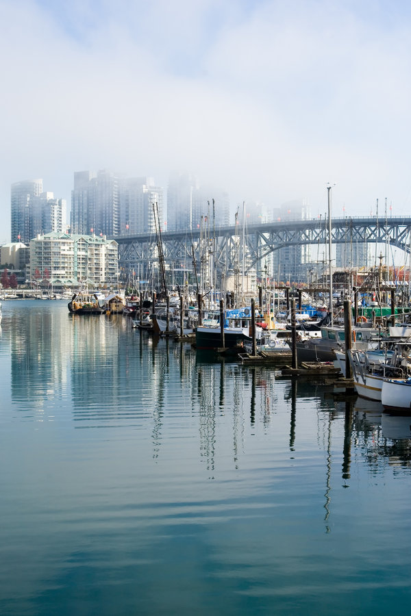 Vancouver in fog stock images