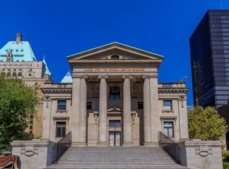 Vancouver galeria sztuki na Robson kwadracie budował w Romańskim stylu w b obraz stock
