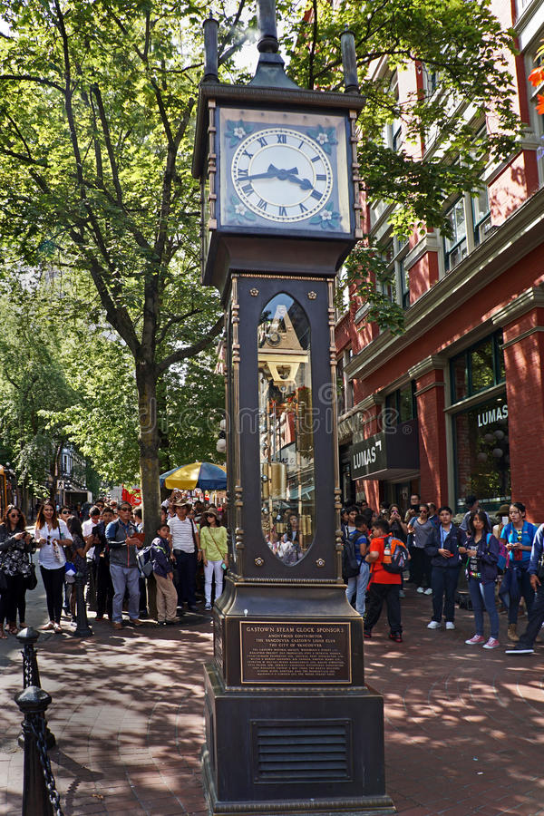 Vancouver, Gastown Steam Clock. Powered by steam engine stock images