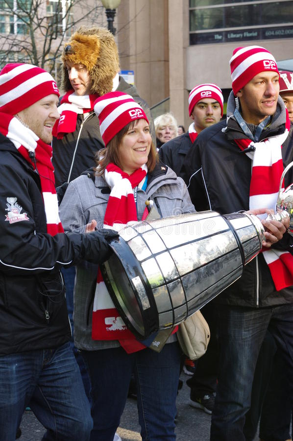 Vancouver Grey Cup Fan March stockbilder