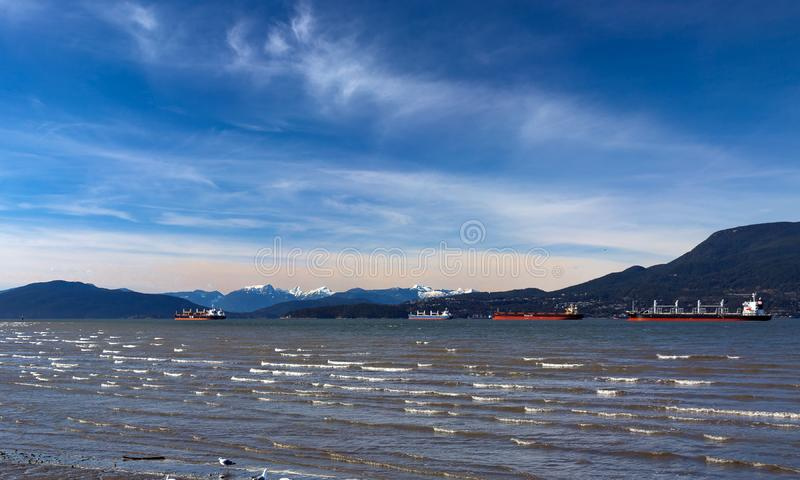 Ocean`s Tankers in Vancouver Harbor royalty free stock photos