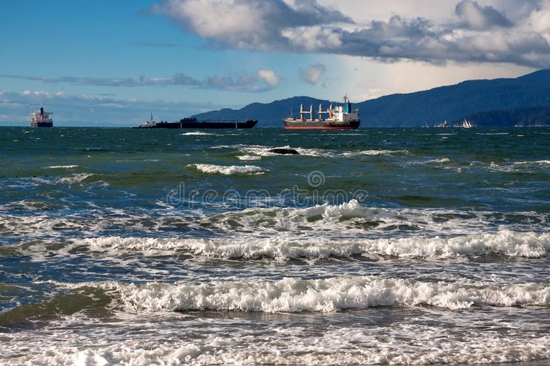 Ocean`s Tankers in Vancouver Harbor stock photography