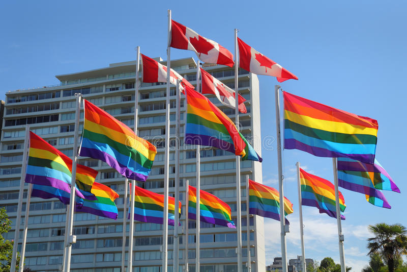 Vancouver-Homosexuelles Pride Flags lizenzfreie stockfotografie