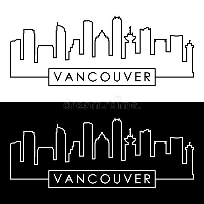 Vancouver horisont Färgrik linjär stil royaltyfri illustrationer