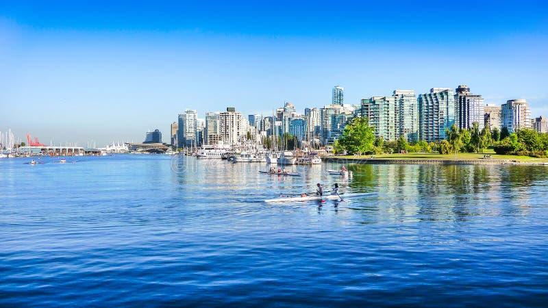 Vancouver horisont med hamnen, British Columbia, Kanada royaltyfria foton