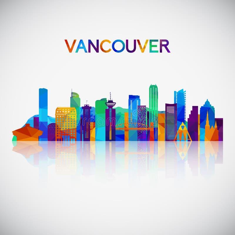 Vancouver horisontkontur i färgrik geometrisk stil vektor illustrationer