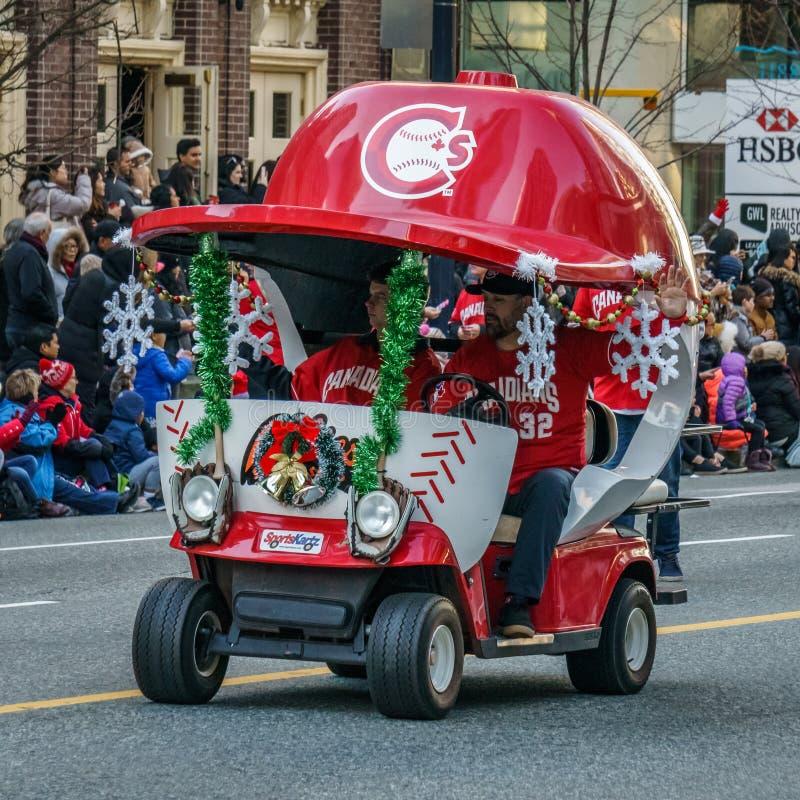 VANCOUVER KANADA - DECEMBER 2, 2018: sportkartz på årligt Santa Claus Parade i Vancouver, Kanada royaltyfria bilder