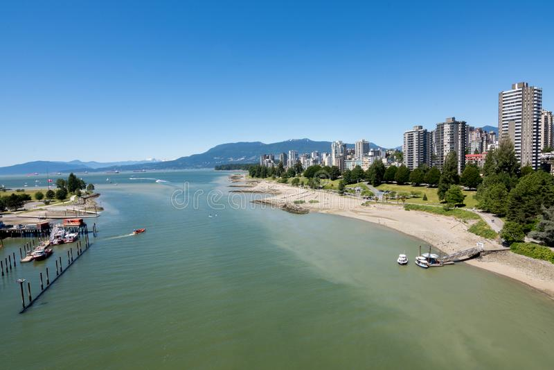 Vancouver, Kanada - 23. Juni 2017: Die englische Bucht und das Vancouver lizenzfreie stockfotografie