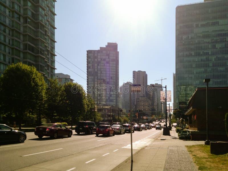 Vancouver Kanada - 2018 Loppfoto av den Vancouver staden, en av de viktiga städerna av Kanada royaltyfri fotografi