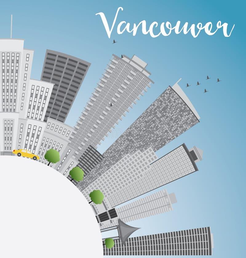 Vancouver linia horyzontu z szarą budynków, niebieskiego nieba i kopii przestrzenią, royalty ilustracja