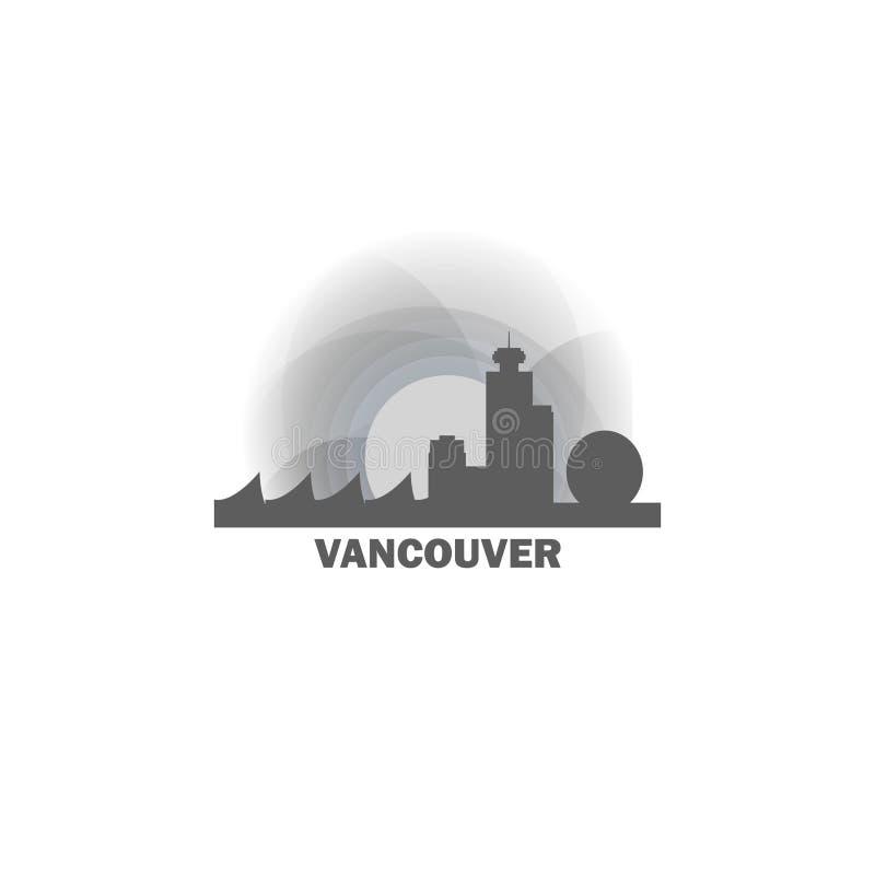 Vancouver miasta linii horyzontu sylwetki loga wektorowa ilustracja ilustracji