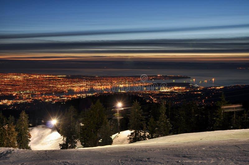 Vancouver nattcityscape arkivbilder