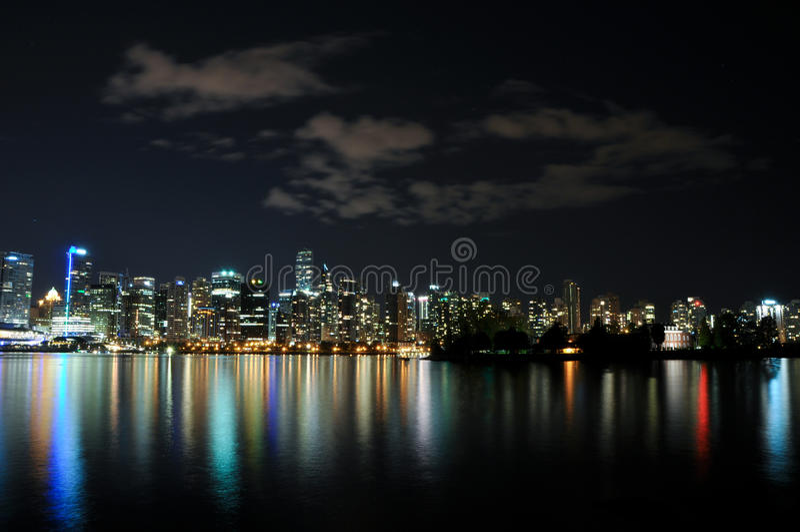 Vancouver natthorisont arkivbilder