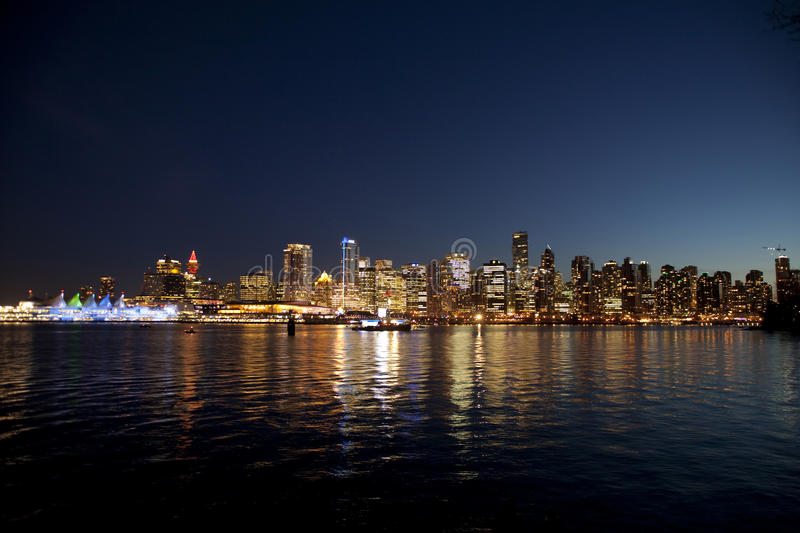 Vancouver at night stock image