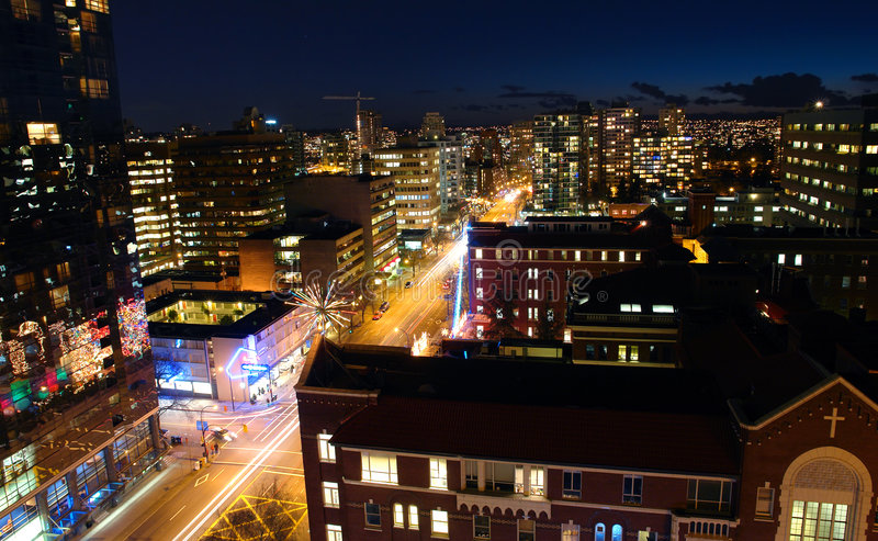 Vancouver noc fotografia stock