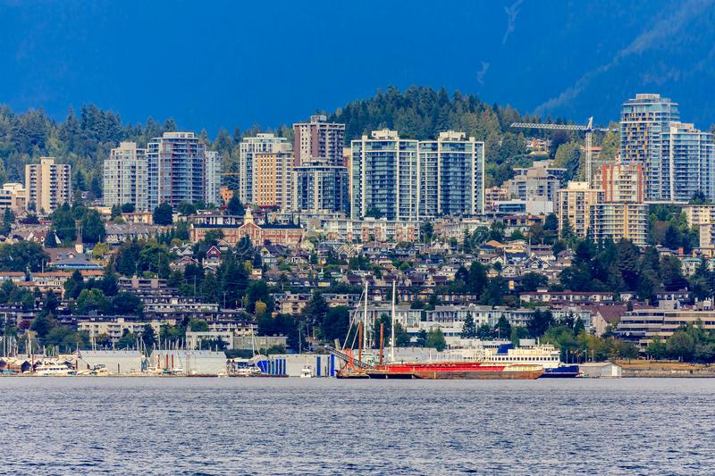 Vancouver North Shore skyline and waterfront with Grouse mountain in British Columbia Canada royalty free stock photos